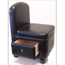 COLLIER Pedicure Stool With Pull Out Drawer Black
