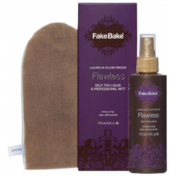 Flawless Self-Tanning Liquid 6oz W/Professional Mitt Fake Bake