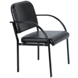 Client Chair With Armrests No Casters (Black)