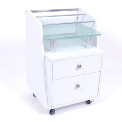 Cart White Glass Top 2 drawers & organizer
