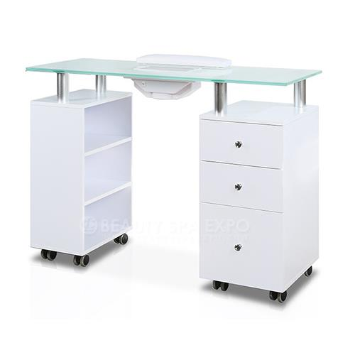 "ELSA Manicure Table White with Frosted Glass Top VENTILATED (43.5"" Wx17""Dx31""H)"