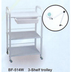"MILAN Trolley 3 Shelf w/Drawer 20"" x 15"" x 35"" Metal Frame, wood shelves (BF514W"