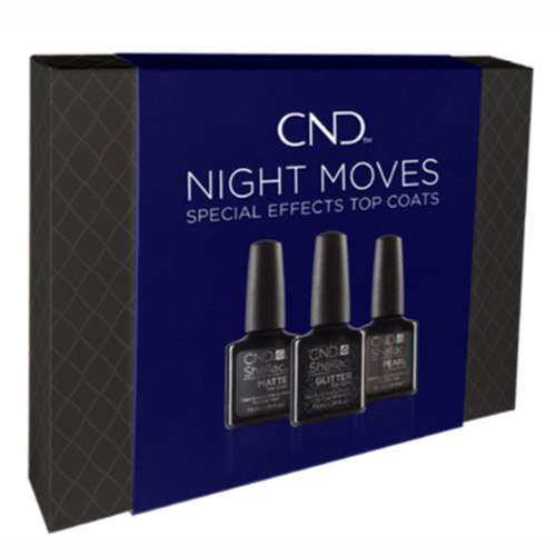 "Holiday Top Coat Shellac Prepack ""Night Moves"" .25oz (Matte, Glitter, Pearl) CND"