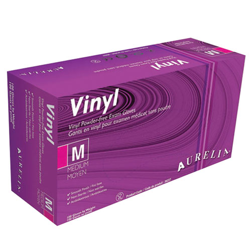 Vinyl Gloves MEDIUM 100/box Powder Free (Clear)
