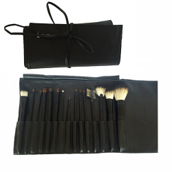 "Professional 15 Piece Brush Set in Black Vinyl Roll out Pouch  ""Intercosmetics"""