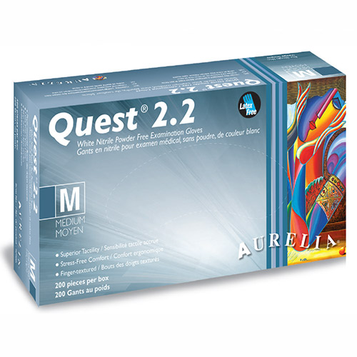 Quest 2.2 Nitrile Gloves MEDIUM 200/box (Finger-Tip Textured) Powder Free White