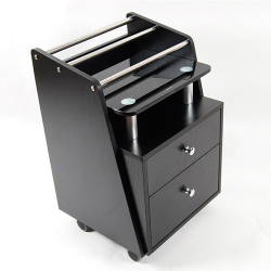 Cart Black Glass Top 2 drawers & organizer