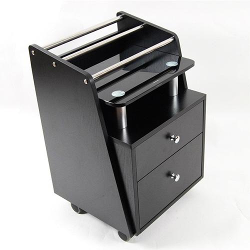 Cart Black Glass Top 2 drawers & organizer