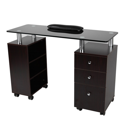 "Manicure Table Walnut with Black Glass Top (43.5""Wx17""Dx31""H)"