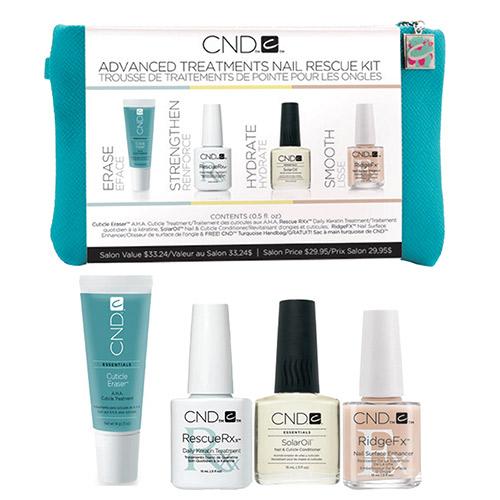 Nail Essentials Kit (Solaroil, RidgeFx, Rescue RXx, Cuticle Eraser .5 oz) CND
