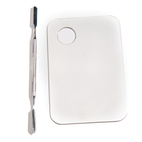 Stainless Steel Mixing Plate & Double Ended Spatula