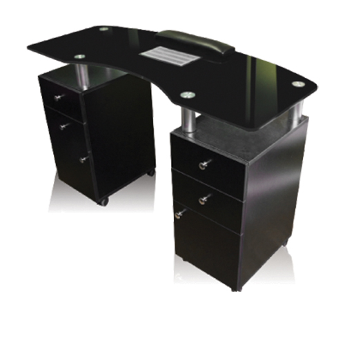 "Manicure Table Black Glass Top Ventillated (48xW x 20""D x 31"" H)"