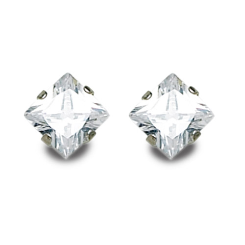 Square Cubic Zirconia Large 7mm Earrings (Palladium) Inverness
