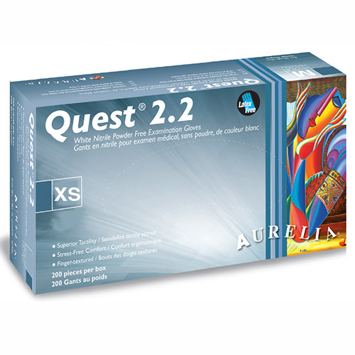 Quest 2.2 Nitrile Gloves X-SMALL 200/box (Finger-Tip Textured) Powder Free White