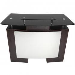 """Reception Desk with Glass Top Walnut 49""""L x 19""""W x 39""""H"""
