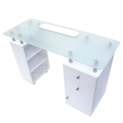 "ANNA Manicure Table White with Frosted Glass Top (43.5"" Wx17""Dx31""H)"