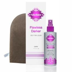 DARKER Flawless Self-Tanning Liquid 6oz W/Professional Mitt Fake Bake