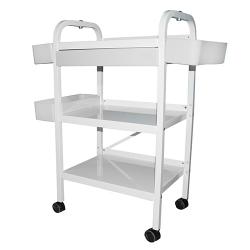 Trolley stainless steel WHITE -37Hx21Wx15D-Top 19x15 (ML100) ST