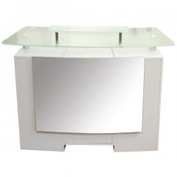 "Reception Desk with Glass Top White  49""L x 19""W x 39""H"