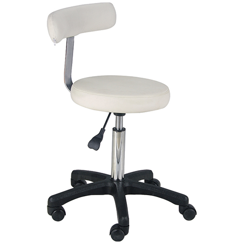 NOVO WHITE Round Airlift Stool with backrest