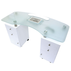 """Manicure Table White Glass Top Ventillated (48xW x 20""""D x 31"""" H)"""