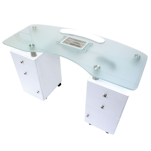 "Manicure Table White Glass Top Ventillated (48xW x 20""D x 31"" H)"